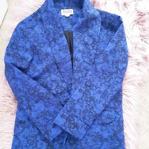 Casual Royal blue blazer with floral design